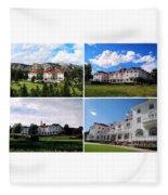 Stanley Hotel In Estes Park Colorado Collage Fleece Blanket