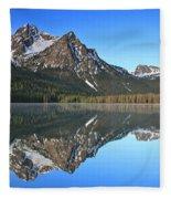 Stanley Lake Sawtooth Mountains Fleece Blanket