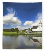 Star Barn And Pond Fleece Blanket