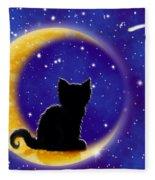 Star Gazing Cat Fleece Blanket