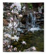 Star Magnolia And Flowing Water Fleece Blanket