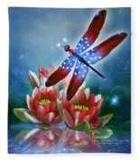 Star Spangled Dragonfly Fleece Blanket