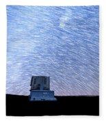 Star Trails Above Subaru Telescope Fleece Blanket