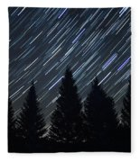 Star Trails And Pine Trees Fleece Blanket