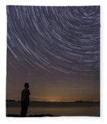 Star Trails Night Sky Landscape Vermont Lake Champlain Fleece Blanket