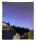 Star Trails Over Rocks In Saguenay-st Fleece Blanket