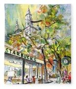Starbucks Cafe In Budapest Fleece Blanket