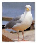 Stare Of A Seagull Fleece Blanket