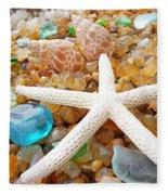 Starfish Art Prints Shells Agates Coastal Beach Fleece Blanket