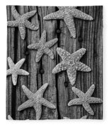 Starfish On Old Wood Black And White Fleece Blanket