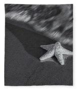 Starfish On The Beach Bw Fleece Blanket