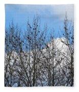 Starlings In The Cottonwoods Fleece Blanket
