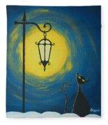 Starry Cat Night Fleece Blanket