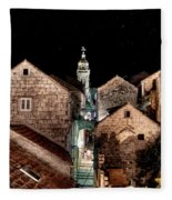 Starry Night Above The Rooftops Of Korcula Fleece Blanket