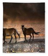 Starry Night Beach Horses Fleece Blanket