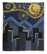 Starry Night Cityscape Fleece Blanket