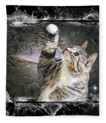 Starry Night Kitty Style Splash Fleece Blanket