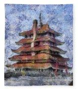 Starry Starry Pagoda Night Fleece Blanket