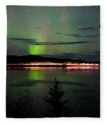 Stars And Northern Lights Over Dark Road At Lake Fleece Blanket