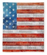 Stars And Stripes With States Fleece Blanket