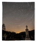 Stars Trails Over Cemetery Fleece Blanket