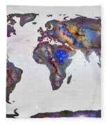 Stars World Map Fleece Blanket