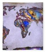 Stars World Map Space Fleece Blanket
