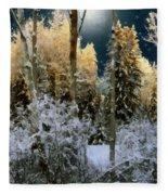 Starshine On A Snowy Wood Fleece Blanket