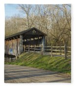 State Line Or Bebb Park Covered Bridge Fleece Blanket