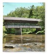 State Road Covered Bridge Fleece Blanket