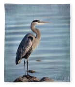 Stately-great Blue Heron Fleece Blanket