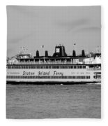 Staten Island Ferry In Black And White Fleece Blanket