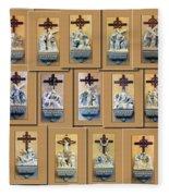 Stations Of The Cross Collage Fleece Blanket