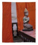 Statue At Wat Phnom Penh Cambodia Fleece Blanket