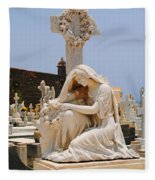 Statue Mourning Woman Fleece Blanket
