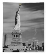 Statue Of Liberty And The Freedom Tower Fleece Blanket