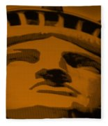 Statue Of Liberty In Orange Fleece Blanket
