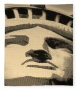 Statue Of Liberty In Sepia Fleece Blanket