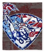 Statue Of Liberty On Stars And Stripes Flag Wood Background Recycled Vintage License Plate Art Fleece Blanket