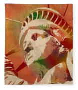 Statue Of Liberty Watercolor Portrait No 1 Fleece Blanket