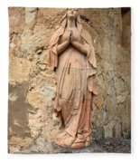 Statue Of Mary In Mission Garden Fleece Blanket