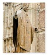 Statue Of Pope John Paul II Fleece Blanket
