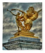 Statue On Pont Alexandre IIi Fleece Blanket