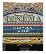 Steam Boat Willie Signage Main Street Disneyland 01 Fleece Blanket