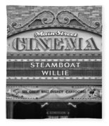 Steam Boat Willie Signage Main Street Disneyland Bw Fleece Blanket