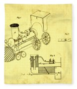 Steam Engine Patent 1869 Fleece Blanket