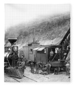 Steam Locomotive And Steam Shovel 1882 Fleece Blanket