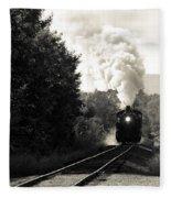 Steam On The Rails Fleece Blanket