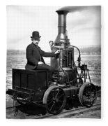 Steam Powered Rail Cart C. 1892 Fleece Blanket