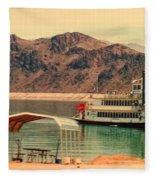 Steamer Along Lake Mead Fleece Blanket